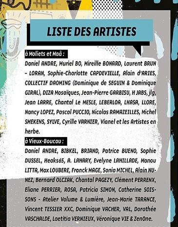 Liste des artistes site internet